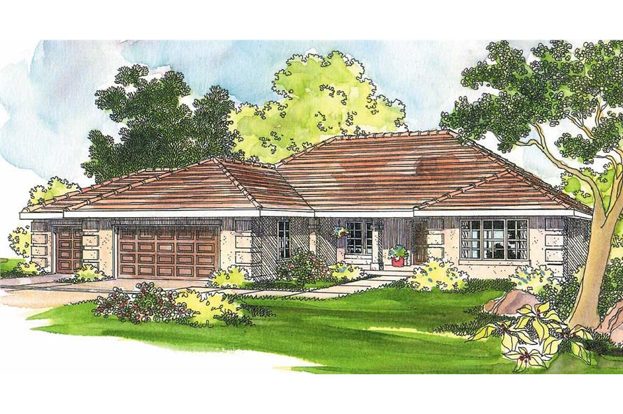 3-Bedroom, 2087 Sq Ft Mediterranean Home Plan - 108-1195 - Main Exterior