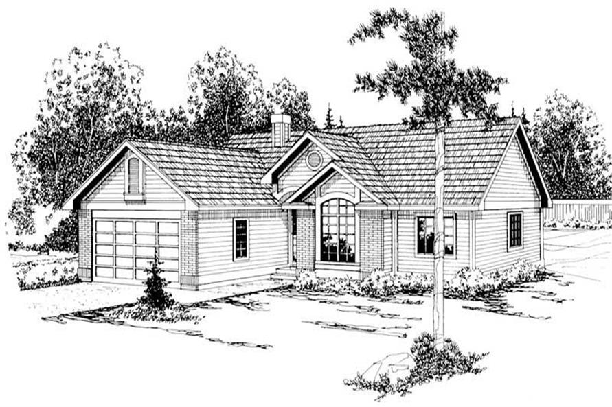 3-Bedroom, 1561 Sq Ft Ranch Home Plan - 108-1206 - Main Exterior