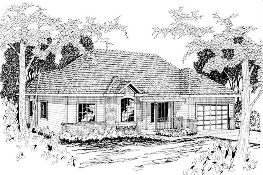 4-Bedroom, 1970 Sq Ft Ranch Home Plan - 108-1209 - Main Exterior