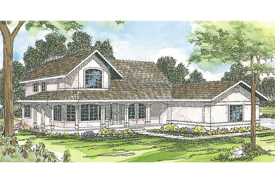 This image shows the Southwestern style for this set of house plans.