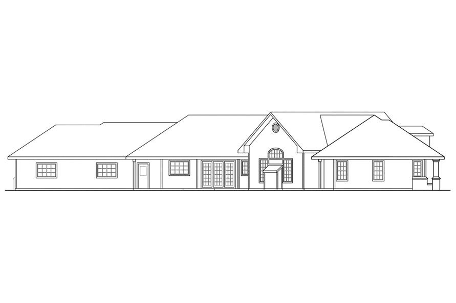 Home Plan Rear Elevation of this 3-Bedroom,2878 Sq Ft Plan -108-1212