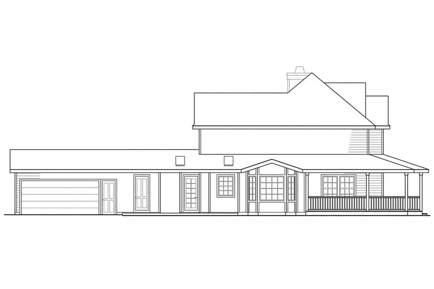 Home Plan Left Elevation of this 3-Bedroom,2156 Sq Ft Plan -108-1215