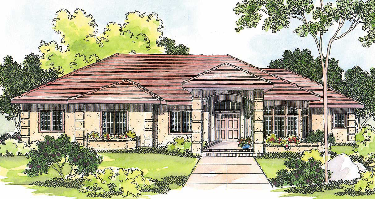 Mediterranean home with 3 bdrms 2692 sq ft house plan for Southwestern home plans