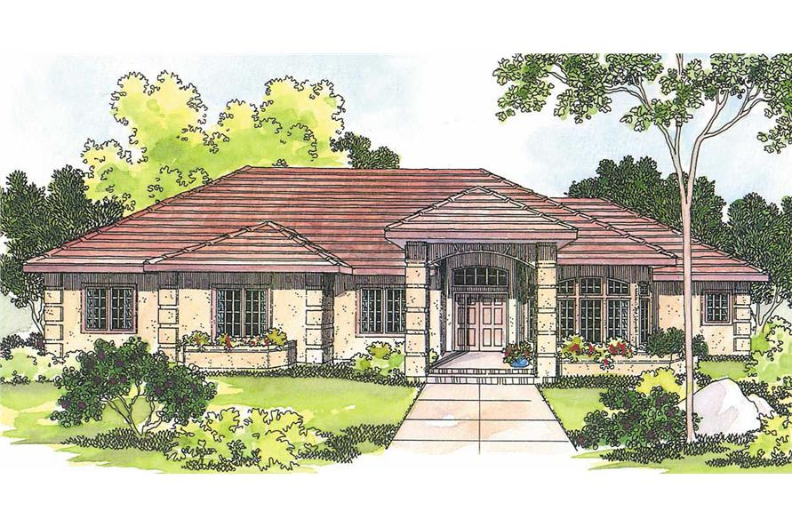 3-Bedroom, 2692 Sq Ft Mediterranean Home Plan - 108-1222 - Main Exterior