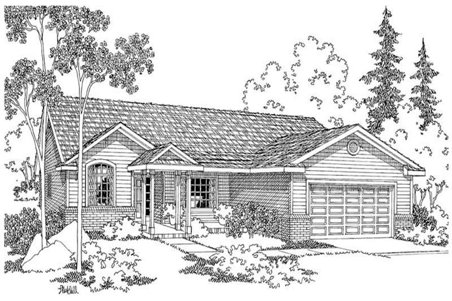 3-Bedroom, 1604 Sq Ft Ranch Home Plan - 108-1224 - Main Exterior