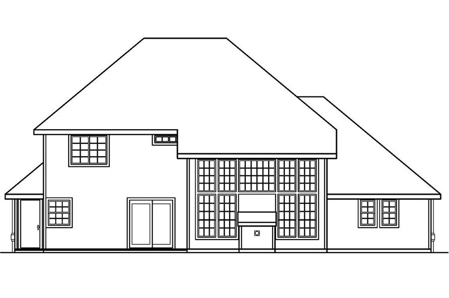 Home Plan Rear Elevation of this 3-Bedroom,2241 Sq Ft Plan -108-1230