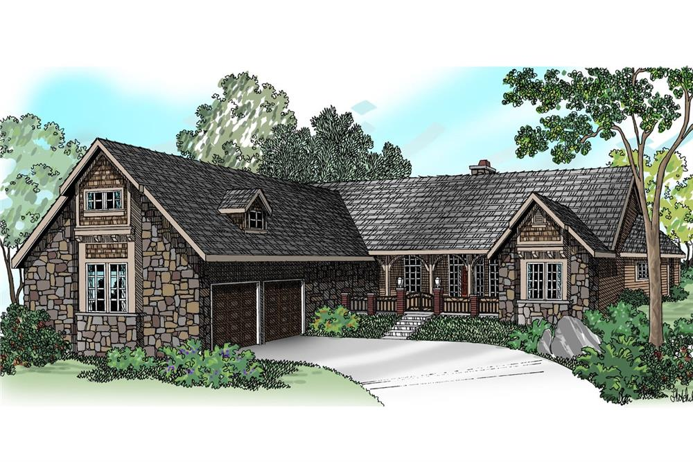 Color rendering of Transitional home plan (ThePlanCollection: House Plan #108-1231)