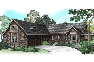 4-Bedroom, 3072 Sq Ft Transitional Home Plan - 108-1231 - Main Exterior