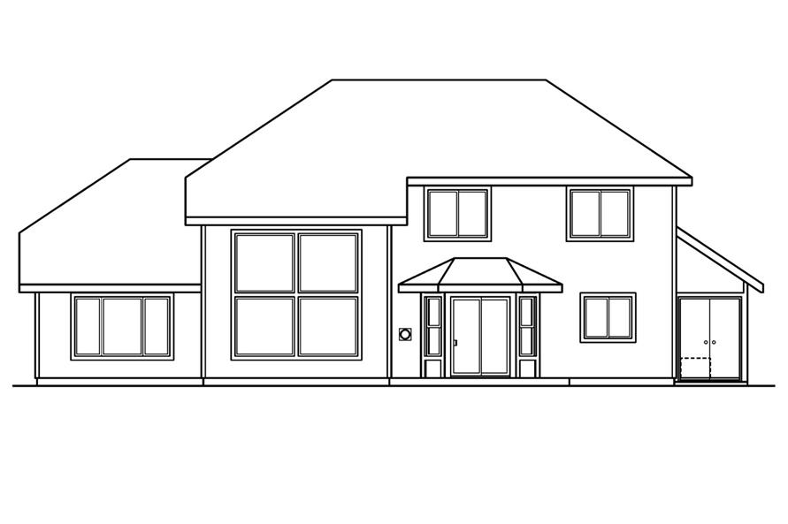 Home Plan Rear Elevation of this 4-Bedroom,2193 Sq Ft Plan -108-1234