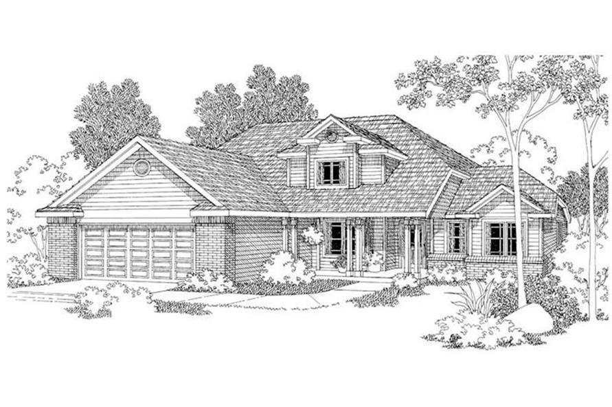 Home Plan Rendering of this 4-Bedroom,2193 Sq Ft Plan -108-1234