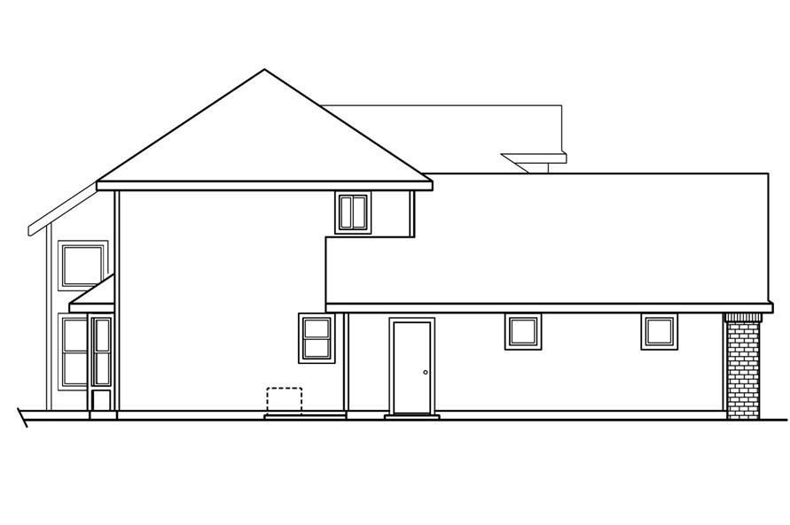 Home Plan Left Elevation of this 4-Bedroom,2193 Sq Ft Plan -108-1234
