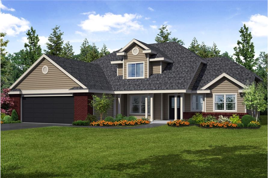 4-Bedroom, 2193 Sq Ft Country Home Plan - 108-1234 - Main Exterior