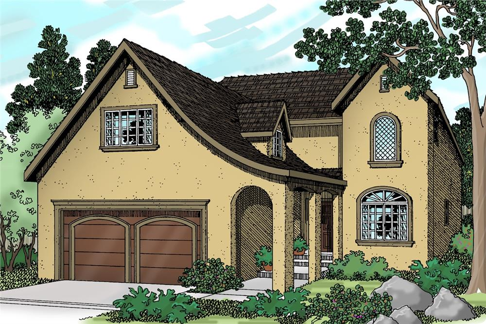 Color rendering of European home plan (ThePlanCollection: House Plan #108-1239)