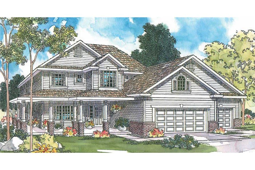This image shows the Country Style and gable roofing for this set of house plans.