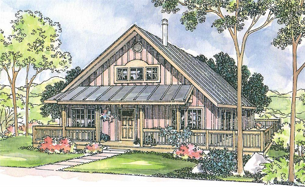This image shows the Cottage Style for this set of house plans.