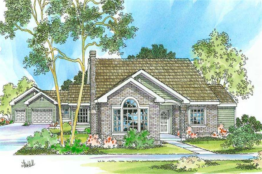 3-Bedroom, 2056 Sq Ft Transitional Home Plan - 108-1247 - Main Exterior