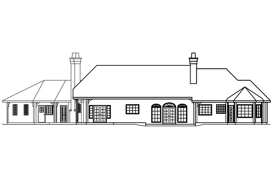 Home Plan Rear Elevation of this 3-Bedroom,2927 Sq Ft Plan -108-1253