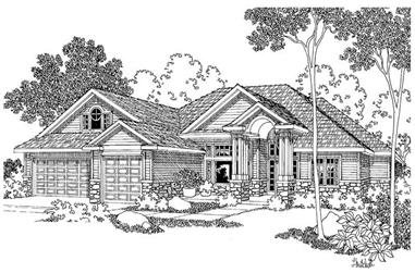 4-Bedroom, 3586 Sq Ft Contemporary Home Plan - 108-1256 - Main Exterior