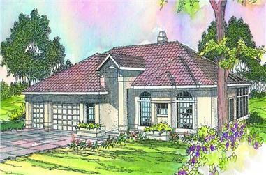 4-Bedroom, 2491 Sq Ft Mediterranean Home Plan - 108-1263 - Main Exterior