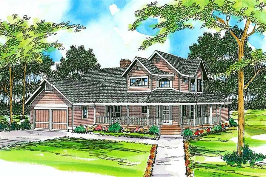 3-Bedroom, 2703 Sq Ft Country Home Plan - 108-1265 - Main Exterior