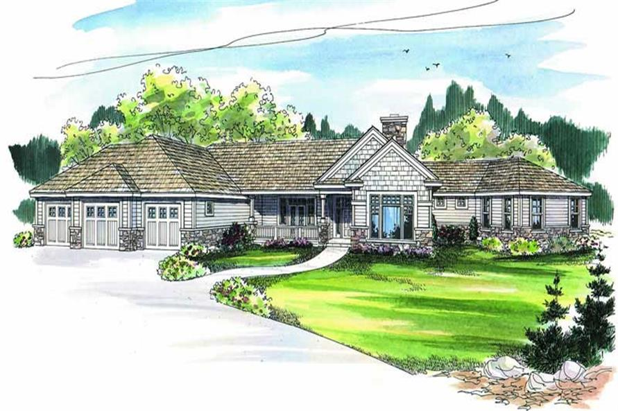 3-Bedroom, 3384 Sq Ft Contemporary Home Plan - 108-1268 - Main Exterior