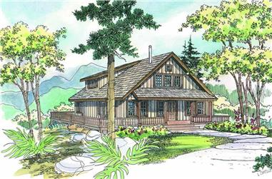 Front elevation of Craftsman home (ThePlanCollection: House Plan #108-1275)
