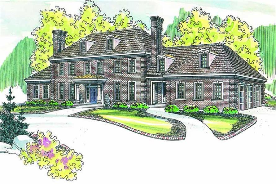 6-Bedroom, 5269 Sq Ft Colonial Home Plan - 108-1277 - Main Exterior