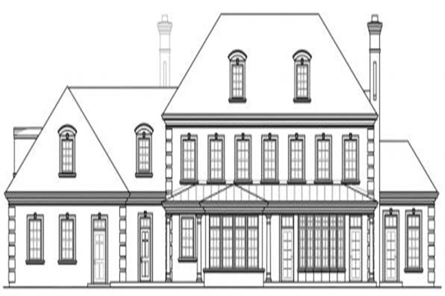 Home Plan Rear Elevation of this 6-Bedroom,5269 Sq Ft Plan -108-1277