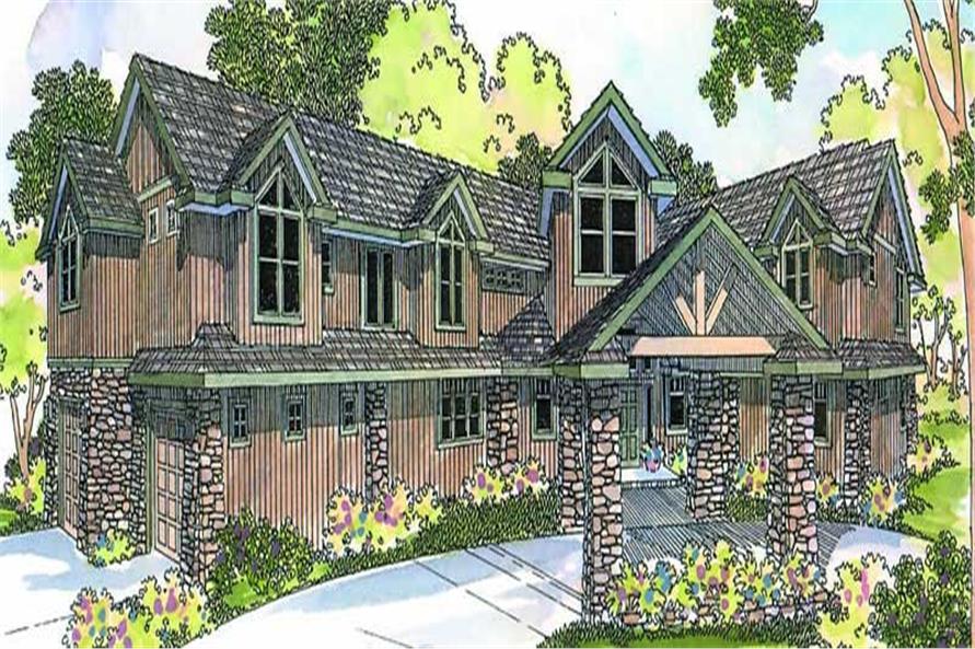 4-Bedroom, 4942 Sq Ft Craftsman Home Plan - 108-1278 - Main Exterior