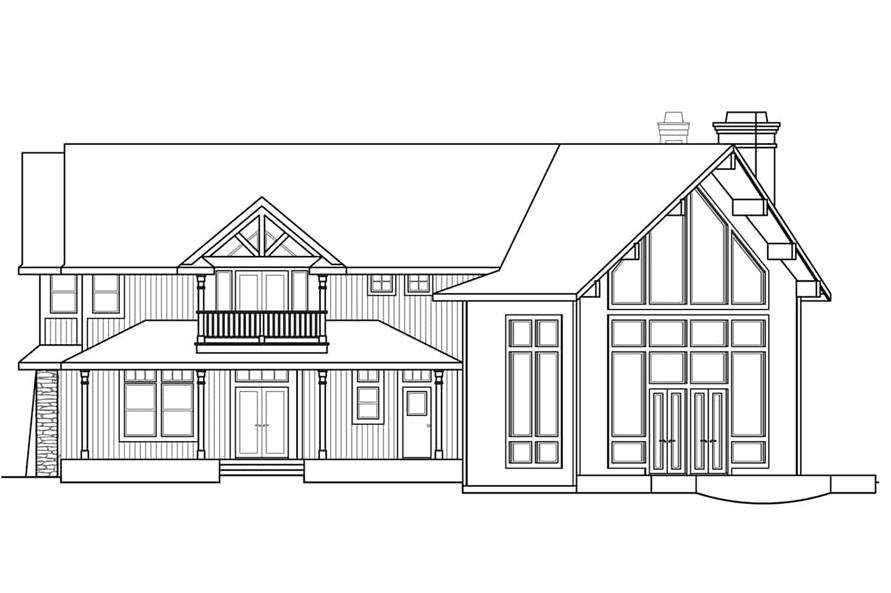 Home Plan Rear Elevation of this 4-Bedroom,5651 Sq Ft Plan -108-1278