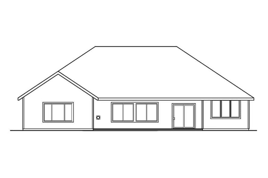 Home Plan Rear Elevation of this 3-Bedroom,2561 Sq Ft Plan -108-1279