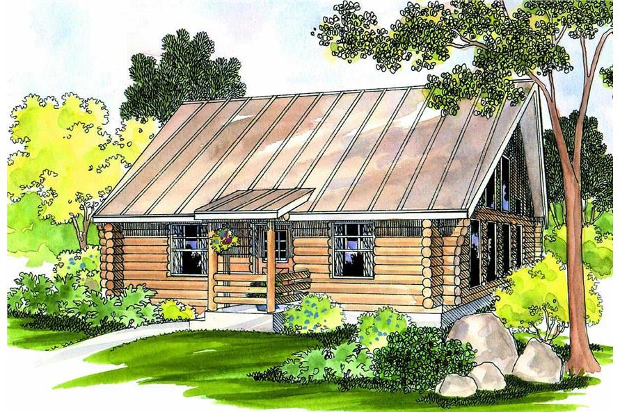 1-Bedroom, 960 Sq Ft Log Cabin Home Plan - 108-1280 - Main Exterior