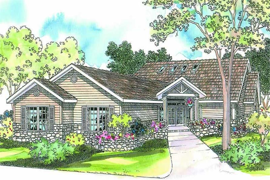 Front elevation of Contemporary home (ThePlanCollection: House Plan #108-1284)