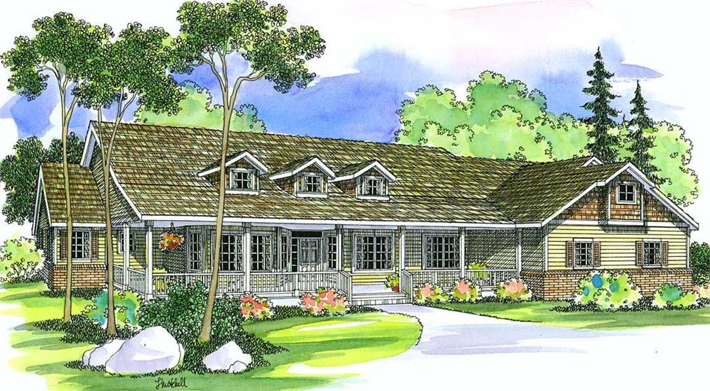 Front elevation of Ranch home (ThePlanCollection: House Plan #108-1285)