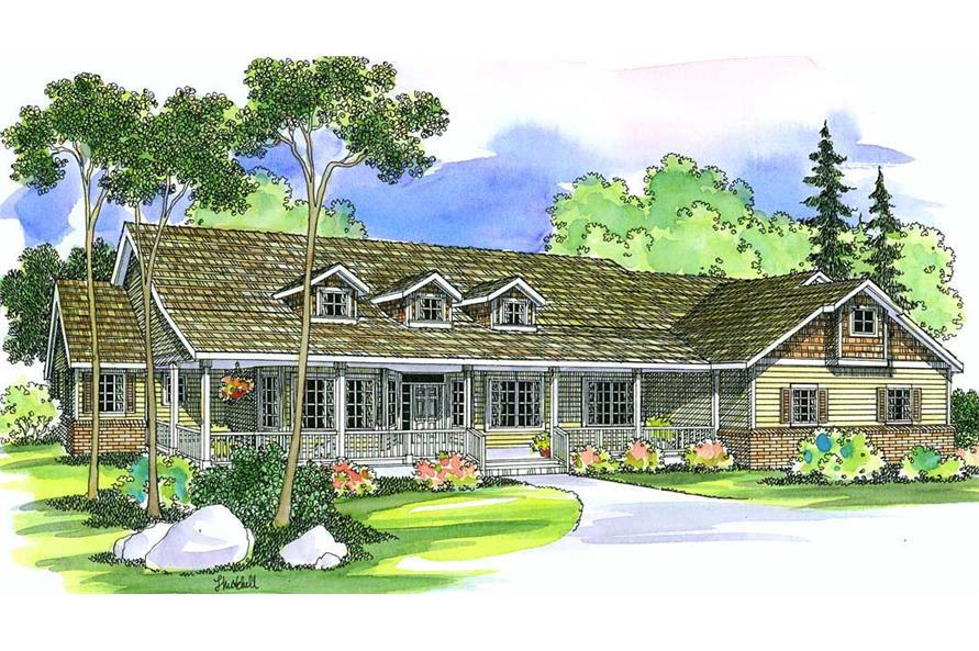 3-Bedroom, 3141 Sq Ft Ranch Home Plan - 108-1285 - Main Exterior
