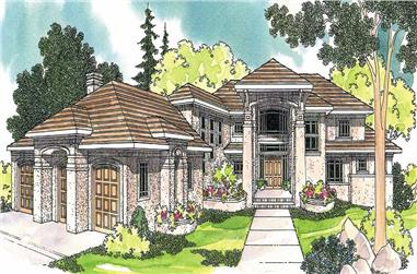 This image shows the Mediterranean Style of this set of house plans.