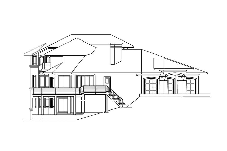 Home Plan Left Elevation of this 4-Bedroom,4285 Sq Ft Plan -108-1288