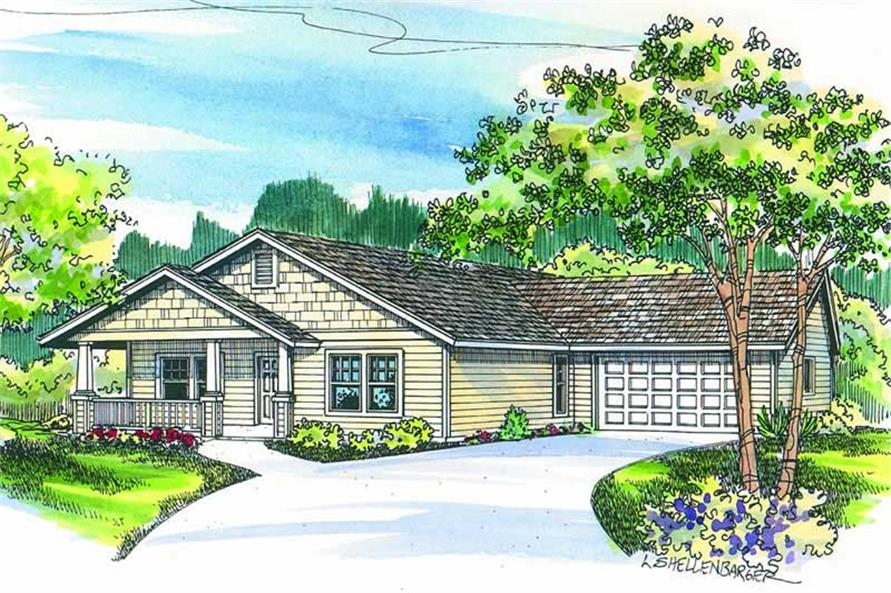 3-Bedroom, 1321 Sq Ft Craftsman Home Plan - 108-1289 - Main Exterior