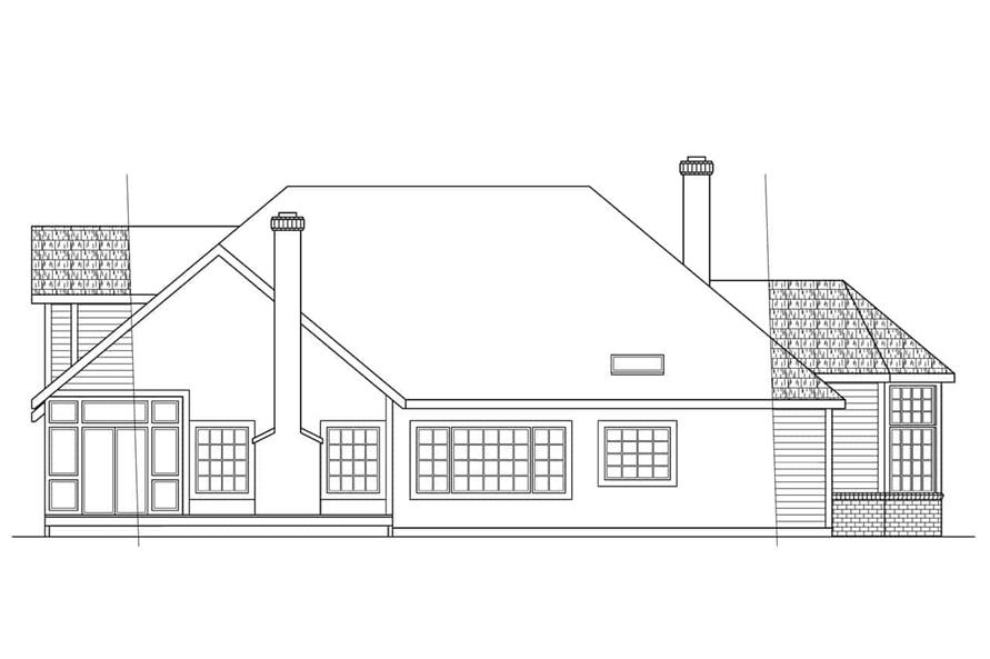 Home Plan Rear Elevation of this 4-Bedroom,2708 Sq Ft Plan -108-1293