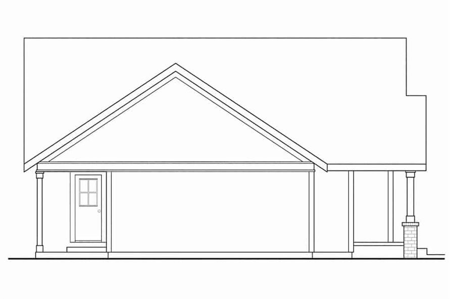 Home Plan Left Elevation of this 3-Bedroom,1426 Sq Ft Plan -108-1296