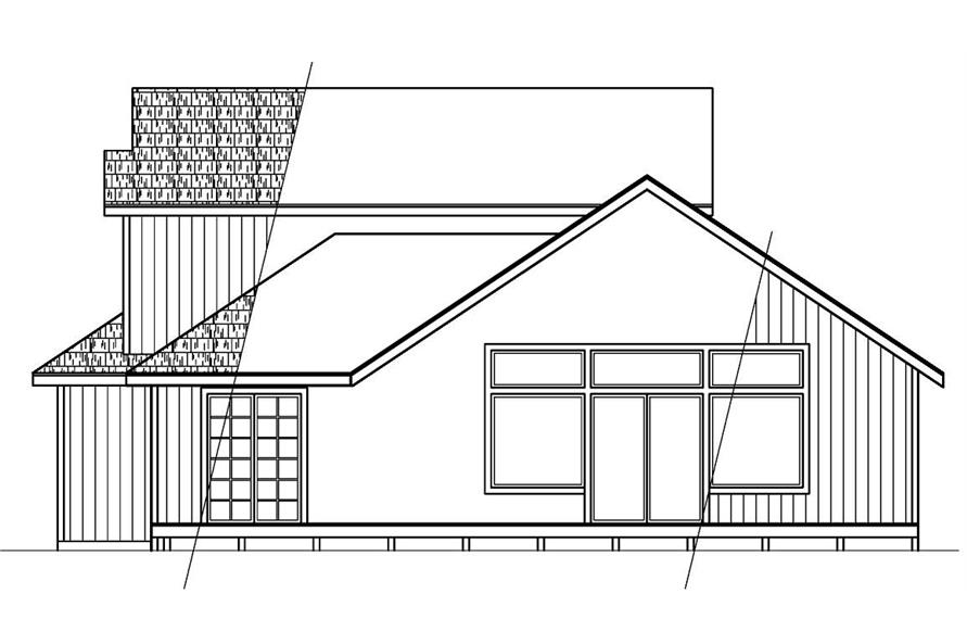 Home Plan Rear Elevation of this 2-Bedroom,1611 Sq Ft Plan -108-1297