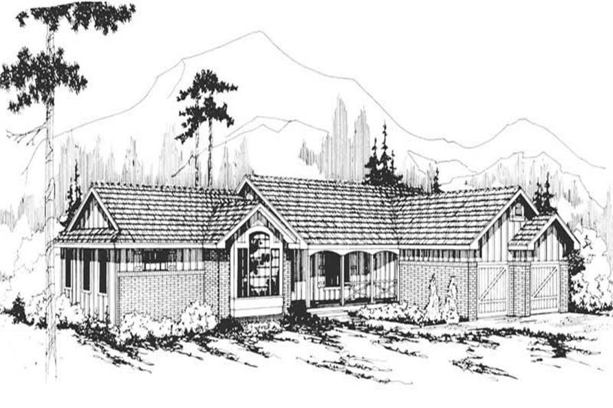 3-Bedroom, 1883 Sq Ft Ranch House Plan - 108-1299 - Front Exterior