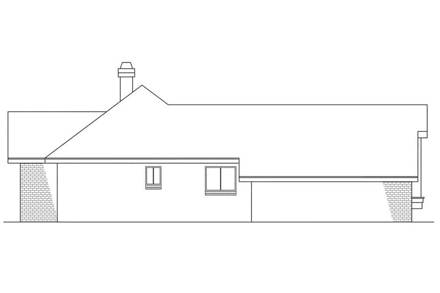 Home Plan Left Elevation of this 3-Bedroom,1729 Sq Ft Plan -108-1300