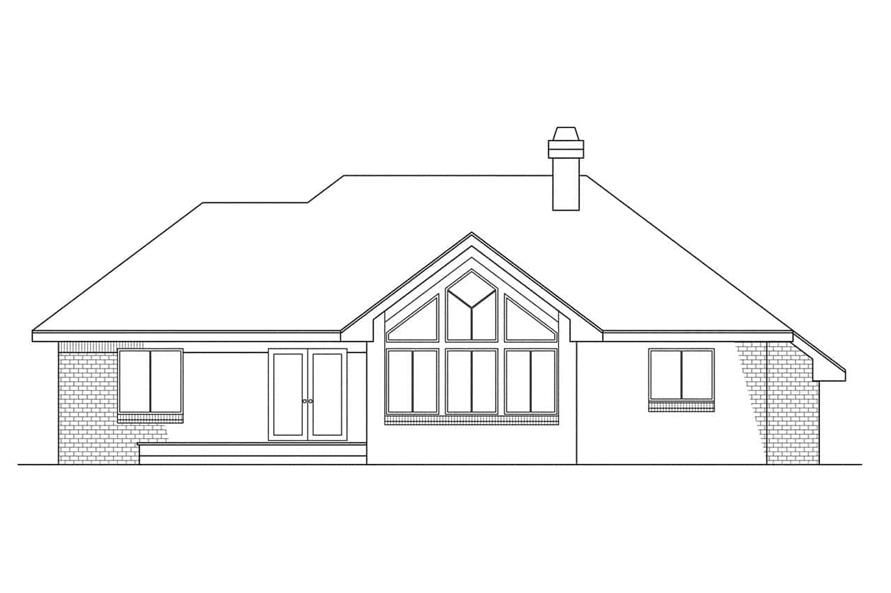 Home Plan Rear Elevation of this 3-Bedroom,1729 Sq Ft Plan -108-1300
