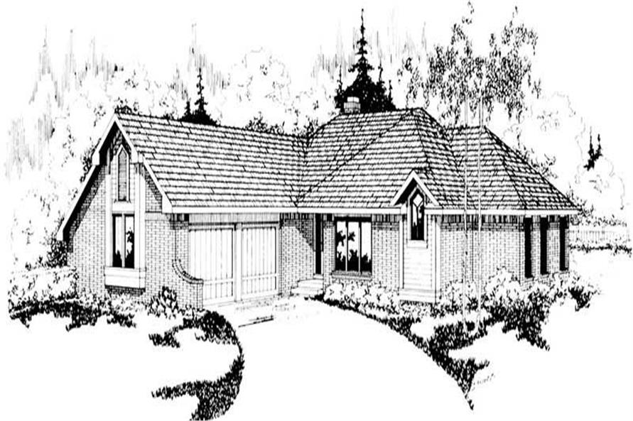 3-Bedroom, 1729 Sq Ft Small House Plans - 108-1300 - Front Exterior