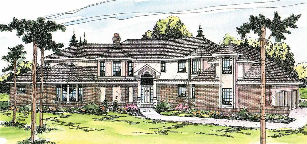 This image shows the Tudor Style for this set of house plans.
