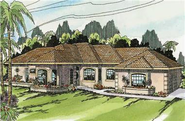 3-Bedroom, 2414 Sq Ft Mediterranean Home Plan - 108-1307 - Main Exterior