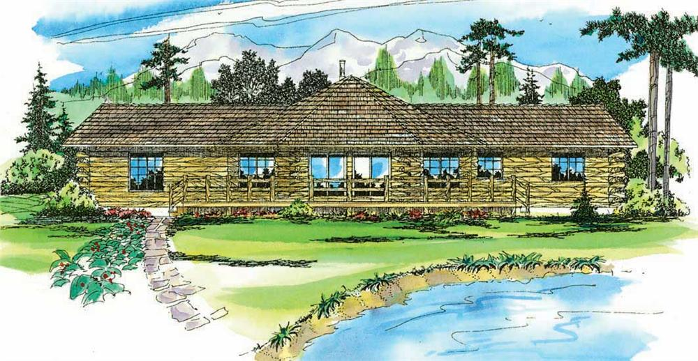 Front elevation of Log Cabin home (ThePlanCollection: House Plan #108-1312)