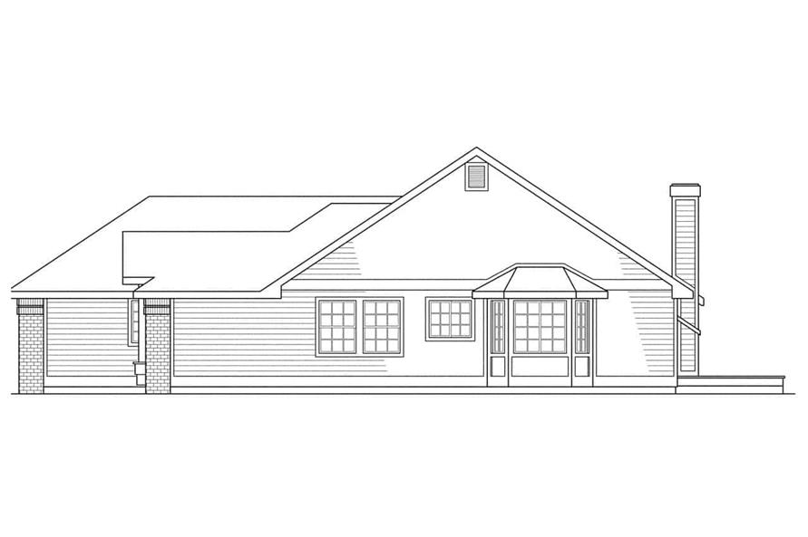 Home Plan Rear Elevation of this 3-Bedroom,1790 Sq Ft Plan -108-1321