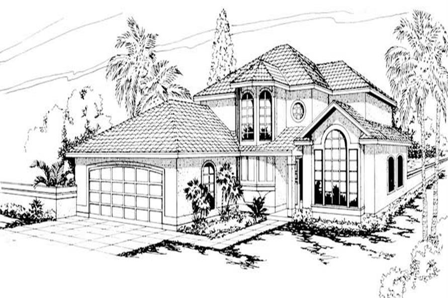 4-Bedroom, 2233 Sq Ft Mediterranean House Plan - 108-1322 - Front Exterior